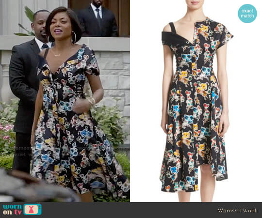 Jason Wu Floral Print Asymmetrical Cotton Dress worn by Taraji P. Henson on Empire
