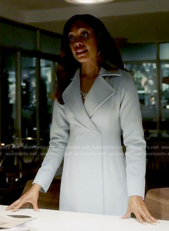 Jessica's powder blue coat on Suits