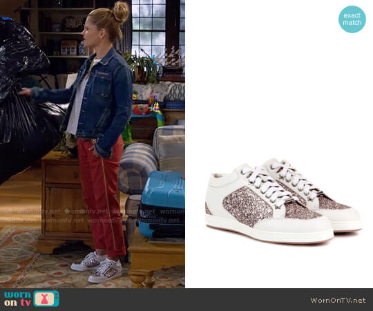 Jimmy Choo Miami Glitter Sandals worn by Candace Cameron Bure on Fuller House