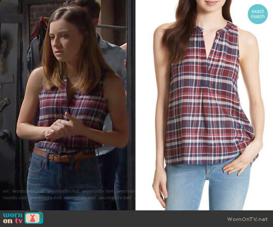Joie Aruna Plaid Top worn by Coco Spectra (Courtney Grosbeck) on The Bold & the Beautiful