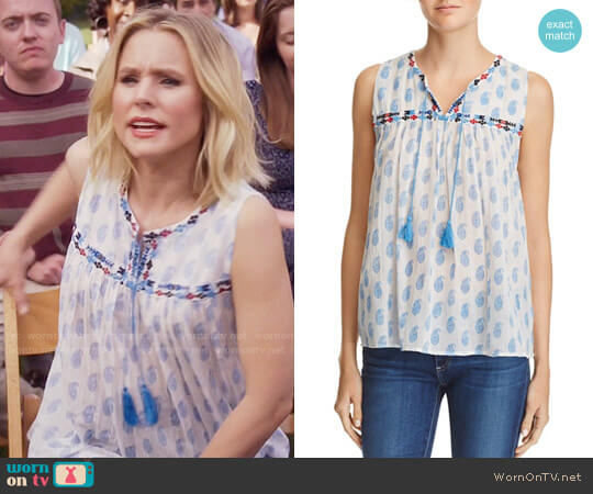 Joie Ernesta Embroidered Top worn by Kristen Bell on The Good Place