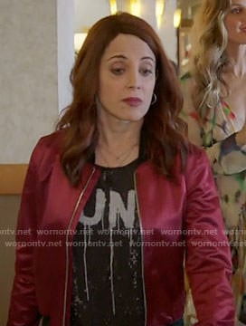 Jo's red satin bomber jacket on Girlfriends Guide to Divorce