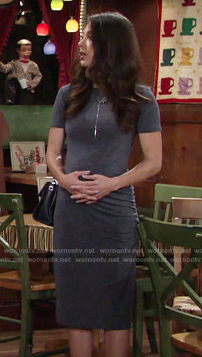 Juliet's navy short sleeve dress on The Young and the Restless