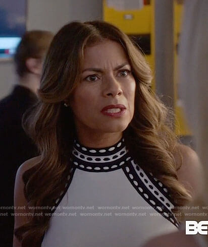 Kara's white top with striped trim on Being Mary Jane