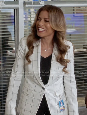 Kara's white windowpane check blazer on Being Mary Jane