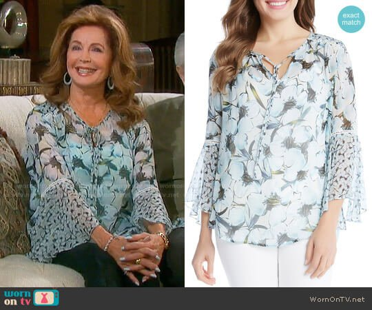 Karen Kane Floral Bell Sleeve Peasant Blouse  worn by Maggie Horton (Suzanne Rogers) on Days of our Lives