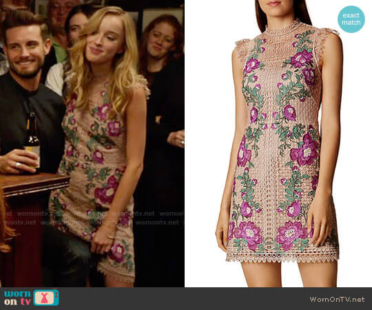Karen Millen Floral-Embroidered Mini Dress worn by Phoebe Dynevor on Younger
