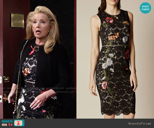 Karen Millen Lace Embroidered Pencil Dress worn by Melody Thomas-Scott on The Young & the Restless