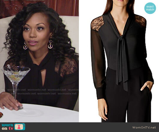 Karen Millen Lace Shoulder Tie Neck Blouse worn by Hilary Curtis (Mishael Morgan) on The Young & the Restless