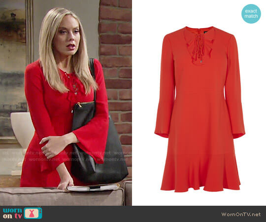 Karen Millen Lace and Frill Neckline Dress worn by Abby Newman (Melissa Ordway) on The Young & the Restless