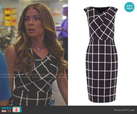 Windowpane Check Dress by Karen Millen worn by Kara Lynch (Lisa Vidal) on Being Mary Jane