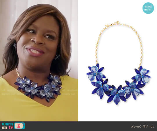 Kate Spade Crystal Flower Statement Necklace worn by Barbara (Retta) on GG2D