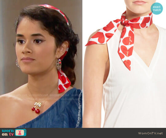 Kate Spade Heart to Heart Skinny Scarf worn by Danube Hermosillo on The Bold & the Beautiful