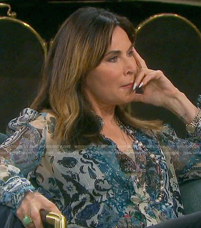 Kate's blue printed blouse on Days of our Lives