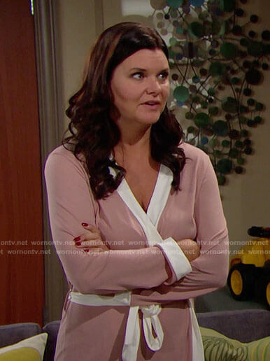 Katie's pink robe with white trim on The Bold and the Beautiful