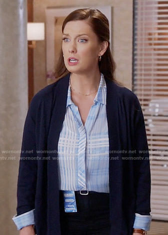 Katie's blue plaid blouse on Great News