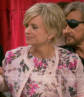 Kayla's pink floral dress and cardigan on Days of our Lives