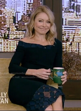 Kelly's navy lace trimmed sheath dress on Live With Kelly