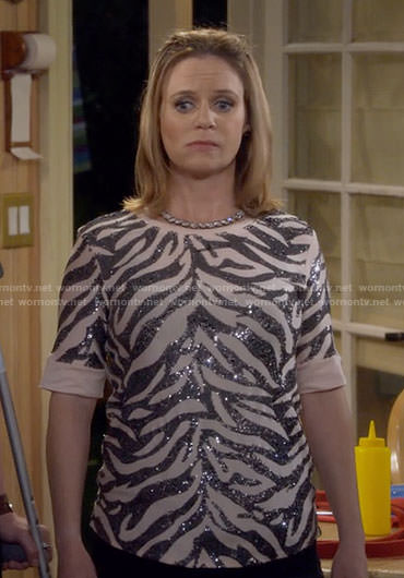 Kimmy's blush sequin zebra stripe top on Fuller House