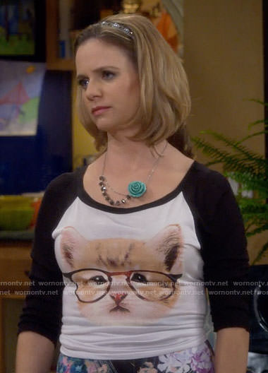 Kimmy's cat with glasses top on Fuller House