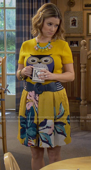 Kimmy's yellow owl top on Fuller House