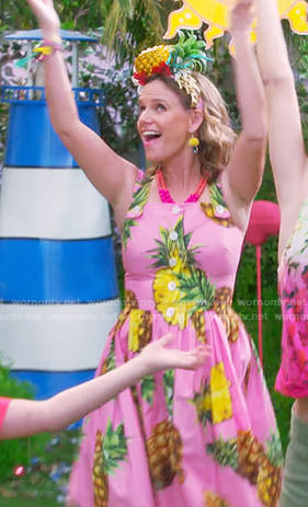 Kimmy's pink pineapple print dress on Fuller House