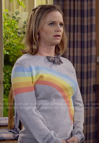 Kimmy's rainbow sweater on Fuller House