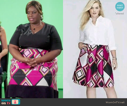 Diamond Pleated Skirt Lane Bryant worn by Barbara (Retta) on GG2D