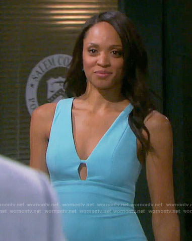 Lani's blue dress with cutout on Days of our Lives