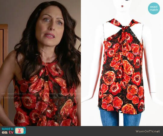 Lanvin Poppy Print Twist Neck Top worn by Lisa Edelstein on GG2D