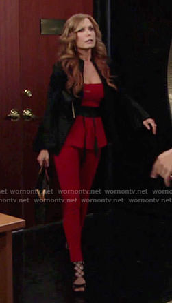 Lauren's red jumpsuit and black bell-sleeve jacket on The Young and the Restless