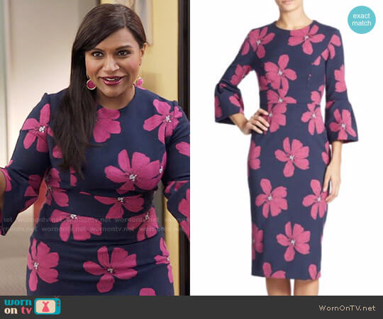 Lela Rose Floral Jacquard Dress worn by Mindy Kaling on The Mindy Project