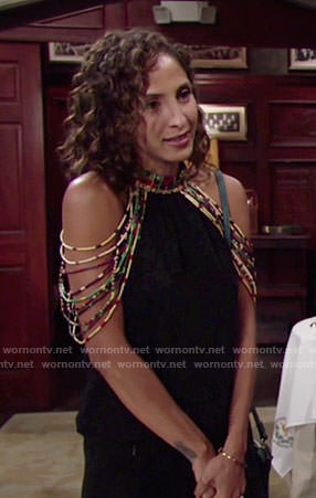 Lily's black cold-shoulder top with beading on The Young and the Restless