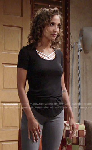 Lily's black t-shirt with white strappy bra on The Young and the Restless