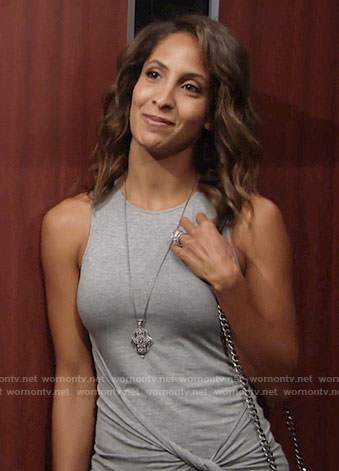 Lily's grey twist front dress and silver pendant necklace on The Young and the Restless