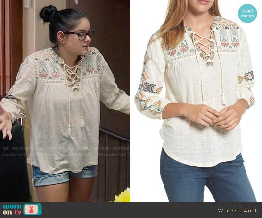 Lucky Brand Embroidered Lace-Up Top worn by Ariel Winter on Modern Family