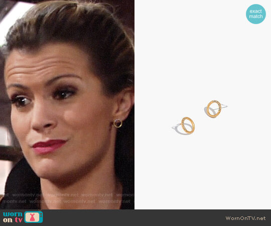 Madewell Pave Circle Stud Earrings worn by Melissa Claire Egan on The Young & the Restless
