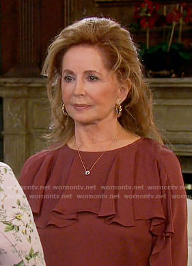 Maggie's brown ruffled blouse on Days of our Lives