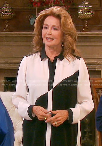 Maggie's black and white colorblock blouse on Days of our Lives