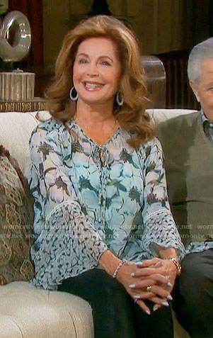 Maggie's blue floral blouse on Days of our Lives