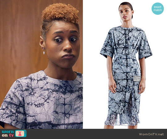 Maki Oh Marble Constellation Adire Dress worn by Issa Rae on Insecure