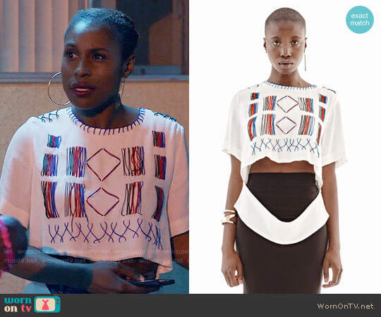 Maki Oh Silk Crepe Fulani Blouse worn by Issa Rae on Insecure