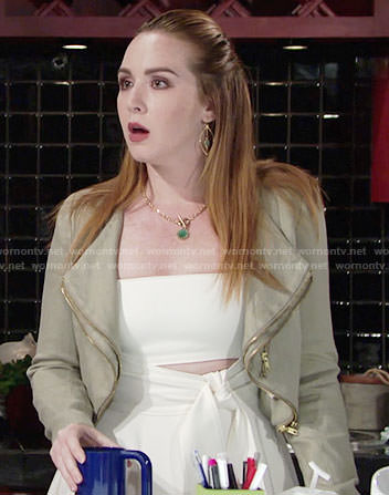 Mariah's white tie-front dress with cutout on The Young and the Restless