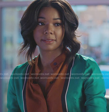 Mary Jane's green and orange colorblock shirt on Being Mary Jane