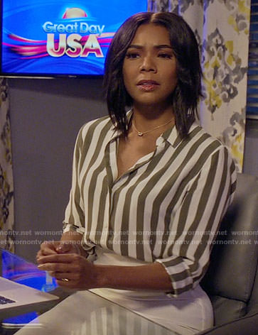 Mary Jane's green striped silk shirt on Being Mary Jane