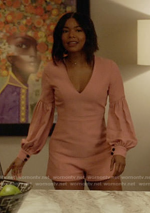 Mary Jane's pink balloon sleeve romper on Being Mary Jane