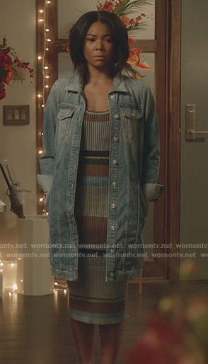Mary Jane's striped midi dress and long denim jacket on Being Mary Jane