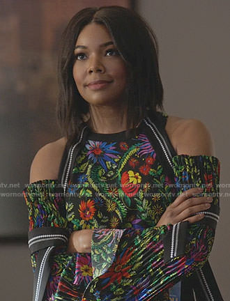 Mary Jane's floral cold-shoulder top on Being Mary Jane