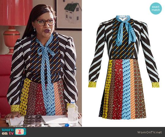 Mary Katrantzou Knight Dress worn by Mindy Kaling on The Mindy Project