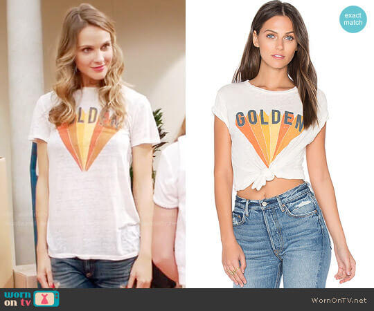 Mate the Label Golden Beau Tee worn by Phoebe Wells (Beau Garrett) on GG2D